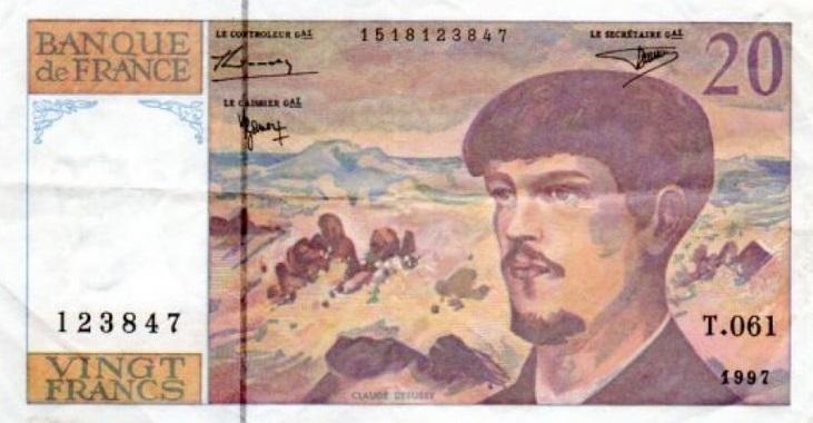 Debussy sur les billets français